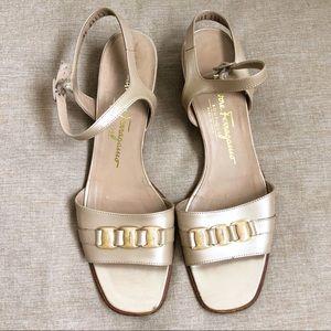 VTG Salvatore Ferragamo Nude Block Heel Sandal 8.5